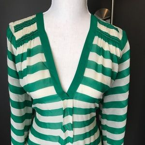 Joie Green And Cream Striped Top